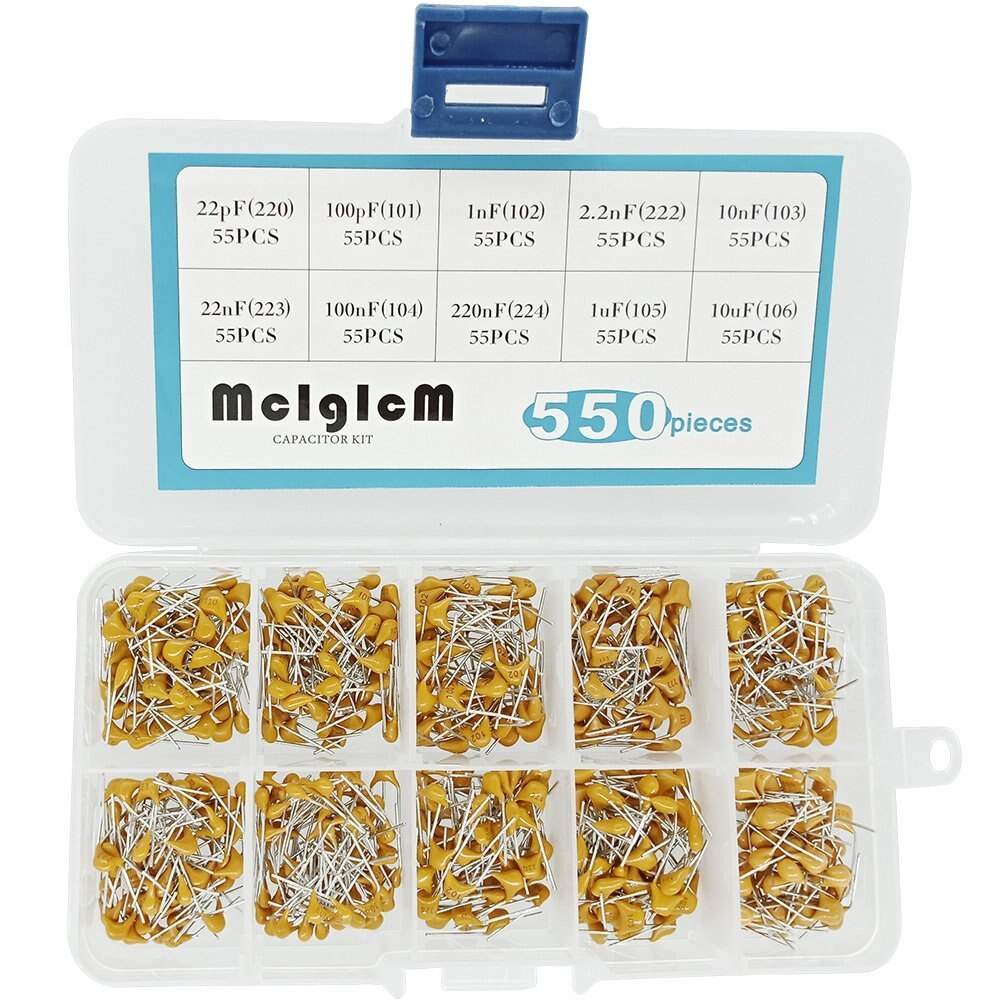 550Pcs 22pF-10uF DIP Monolithic Multilayer Ceramic Chip Capacitors Assortment Kit