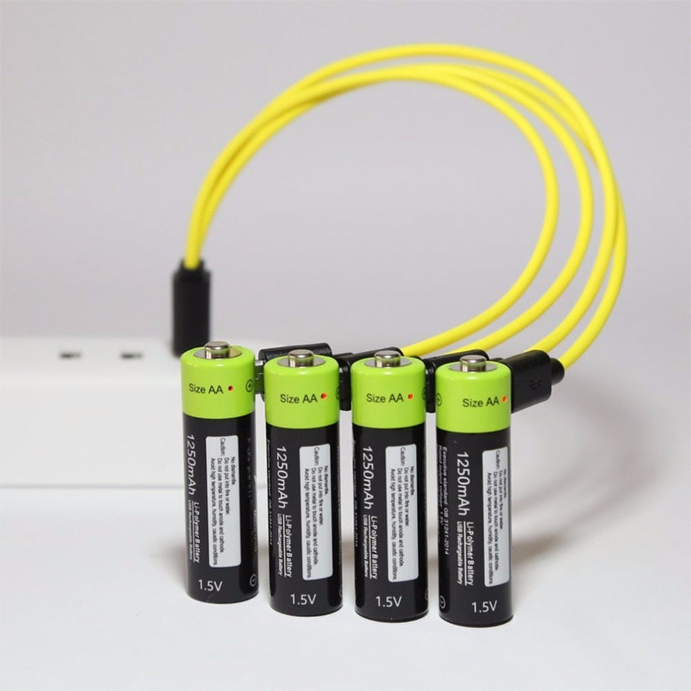 USB Quick Charging Rechargeable AA 1.5V 1250mAh Battery