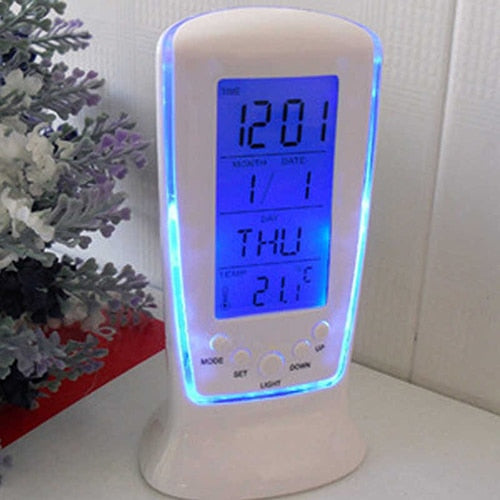 LED Digital Alarm Clock with Blue Backlight  Calendar Thermometer Gift