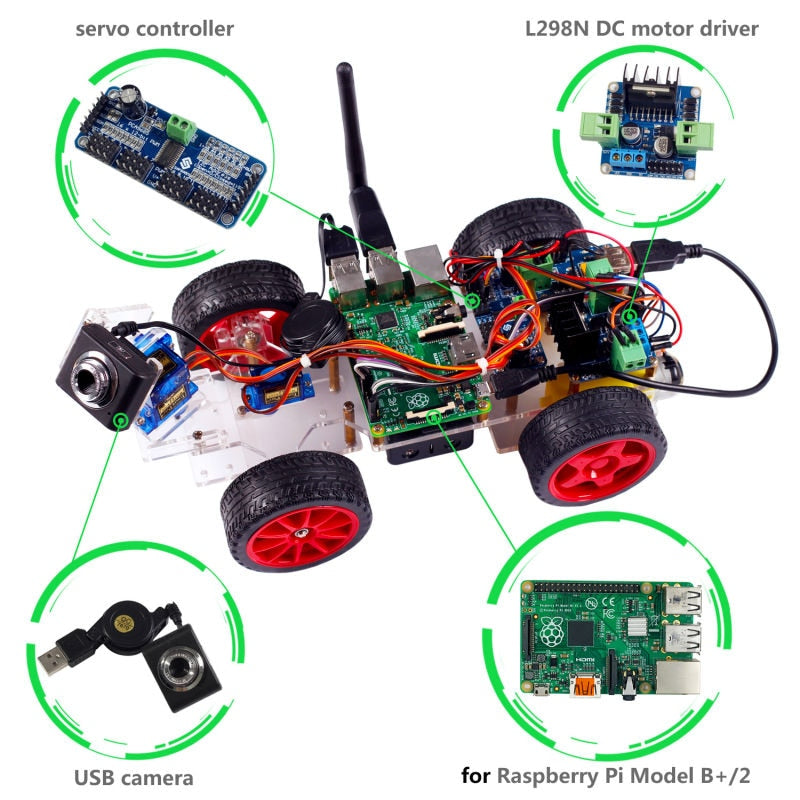 Smart Video Robot Car For Raspberry Pi with Android App (RPI not included )