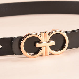 Women Strap Genuine Leather Belt For Jeans Skirt Girls Red Pin Buckle