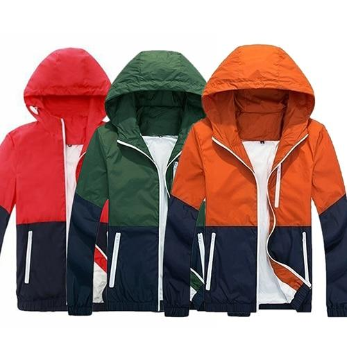 Fashion Men's Zip Up Hooded Jacket Summer Casual Sportwear Windbreaker-cgabuy