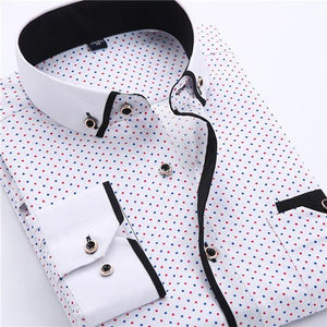 Big Size 4XL Men Dress Shirt 2016 New Arrival Long Sleeve Slim Fit Button Down Collar High Quality Printed Business Shirts M014-cgabuy