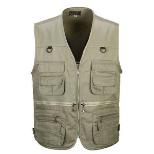 Male Vest Outdoors Casual Multi Pocket Quinquagenarian 100% Cotton Mesh Vest Waistcoat Photography Waistcoat-cgabuy