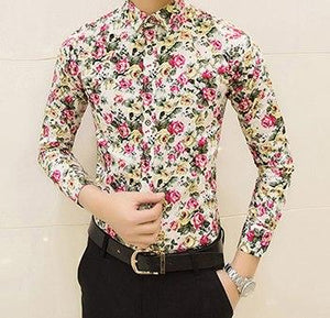 HCXY Free shipping Colorful spring and summer fashion brand mens clothes printed shirt large size Slim floral shirt men-cgabuy