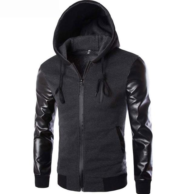 Cool Hooded Jacket Men 2017 Spring Fashion Pu Leather Sleeve Splice Bomber Jacket Casual Windbreaker Blouson Veste Sweat Homme-cgabuy