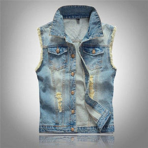6XL Men's Denim Vest Male Light Color Slim Fit Sleeveless Jackets Men Jeans Waistcoat Hole Washed Cowboy Brand Clothing LA029-cgabuy