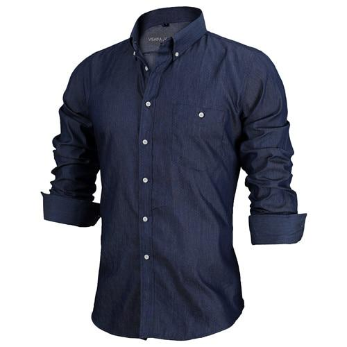VISADA JAUNA Men's shirts European Size S-XXL 2017 Summer Casual Camicia Uomo Slim Fit Long sleeve Cotton Male Denim Shirt N1091-cgabuy