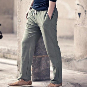XMY3DWX men's Cotton and linen in spring trousers men's linen thin model/Male elastic waist loose comfortable haroun pants-cgabuy