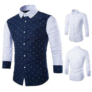 Men's Fashion Skull Prints Long Sleeve Casual Patchwork Button Down Dress Shirt-cgabuy