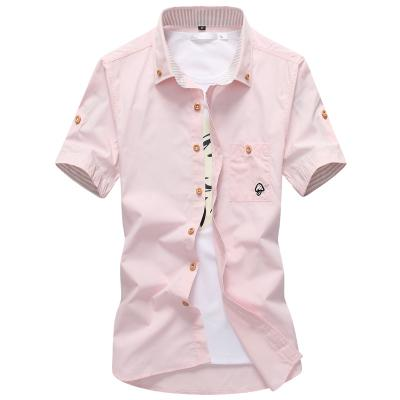 XMY3DWX fashion male Summer slim Fit leisure cotton short sleeve shirt/Male high-grade lapel mushroom business shirt-cgabuy