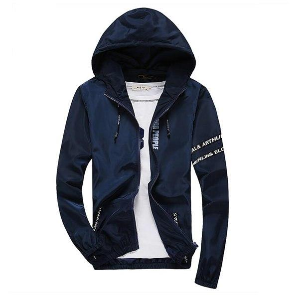2017 Autumn New Jacket Men Fashion High Quality Thin Jacket Causal Hooded Jacket Male Windbreaker Zipper Clothing 4XL 5XL X405-cgabuy