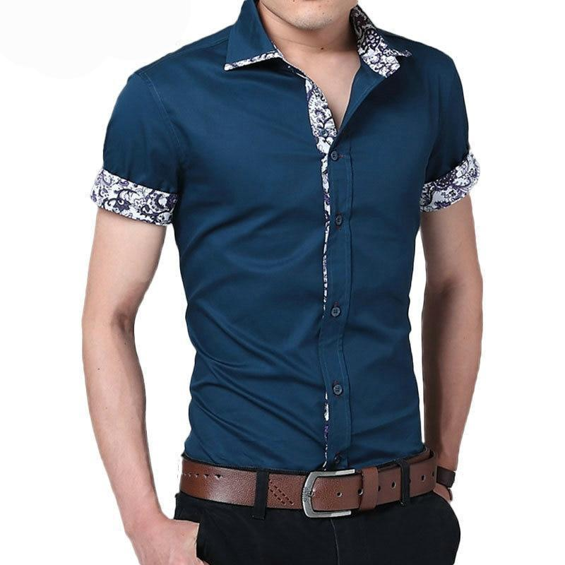 Male Shirt Brand Summer Mens Dress Shirts Short Sleeve Casual Shirt Men Slim Fit Camisa Design Formal Shirt Imported Clothing-cgabuy