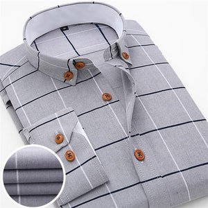 2016 New Oxford Plaid Casual Men's Shirt Slim Fit Formal&Business Occupation Man Shirts Spring Long Sleeve Men Dress Shirt M038-cgabuy