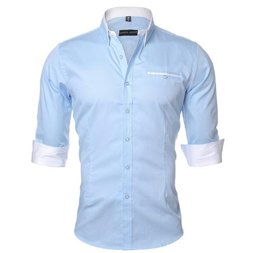 VISADA JAUNA Men Shirt 2017 Solid Color Business Dress Casual Brand Clothing Long Sleeve Camisa Social Masculina 5XL N461-cgabuy