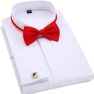 Men Wedding Tuxedo Long Sleeve Dress Shirts French cufflinks Swallowtail Fold Dark button design Gentleman shirt White Red Black-cgabuy