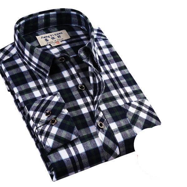 Brand Men's Casual Shirts 2017 New Spring Fashion Slim Fit Long Sleeve Male Plaid Cotton Dress Social Shirts Plus Size 3XL X408-cgabuy