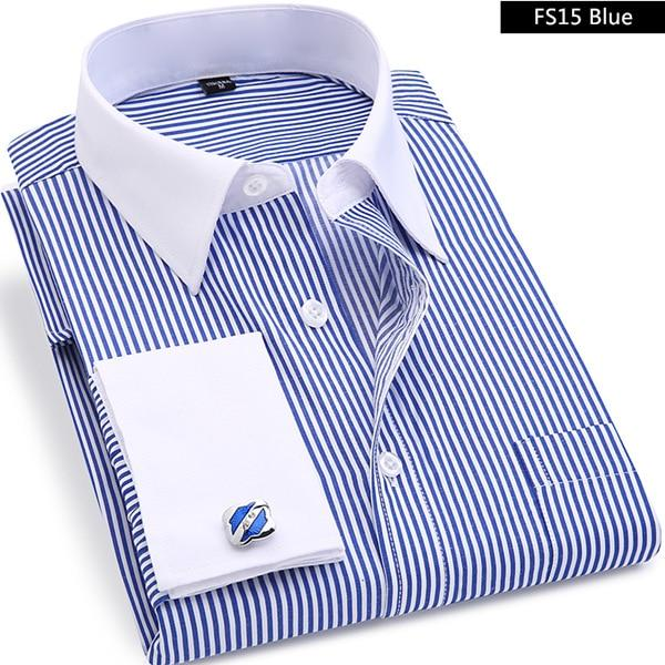 High Quality Striped Men French Cufflinks Casual Dress Shirts Long Sleeved White Collar Design Style Wedding Tuxedo Shirt 6XL-cgabuy