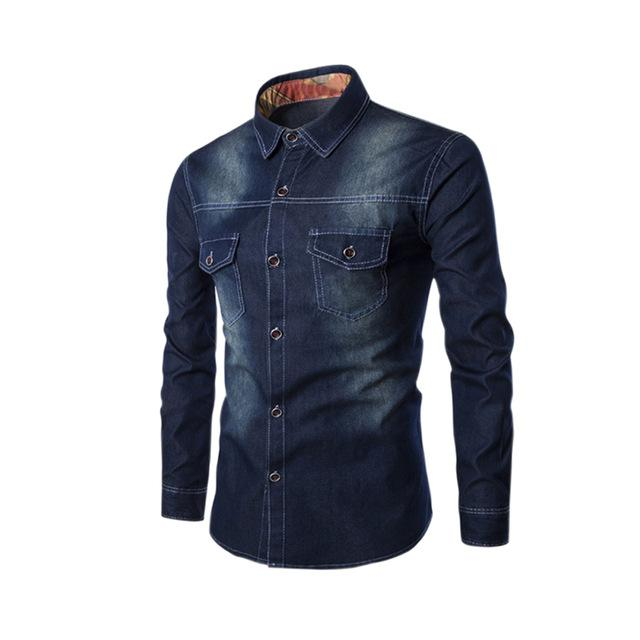 2017 Fashion Men Jeans Shirt Cotton Slim Fit Casual Denim Long Sleeve Solid Shirts Tops Plus Size 5XL 6XL H9-cgabuy