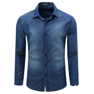 Hot Sale Men's Shirt Casual Style Full Sleeve Striped Shirt Washing Denim Shirts High Quality MCL1767-cgabuy