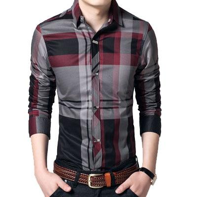 Mountainskin Striped Men's Shirts 4XL 100% Cotton Business Men Shirts Long Sleeve Brand Casual Men's Clothing Slim Fit SEA144-cgabuy