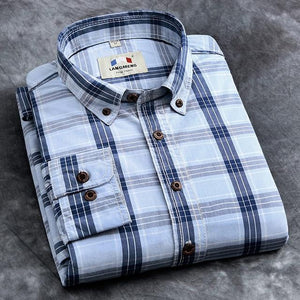 Langmeng 2017 retro spring 100% cotton plaid casual shirts hot selling mens dress shirts long sleeve brand shirt men plus size-cgabuy