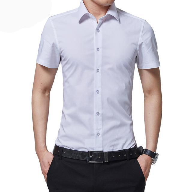 BROWON Brand New Formal Shirt Men Short Sleeve Shirt Turn Down Color Slim Fit Casual Shirt Plus Size M-5XL Camisa Masculina-cgabuy