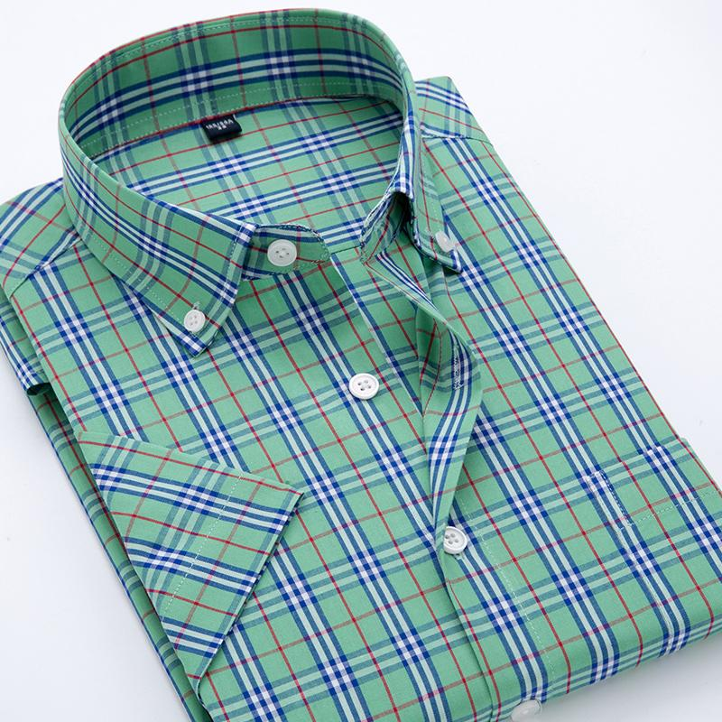 100% cotton 2017 summer shirt men short sleeve camisetas masculinas casual Slim Green Plaid camisa classical Checked Male shirts-cgabuy