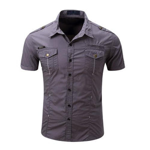 MAGCOMSEN Men Cargo Shirts Summer Cotton Military Shirts for Man Solid Casual Multi Pockets Tactical Shirts Workout AG-GZDZ-05-cgabuy