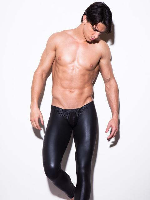 Ahkuci Fashion Men Black Leather Skinny Pants PU Latex Streath Leggings Male Gay Sexy Clubwear Bodywear Gold/Silver Trousers-cgabuy