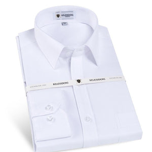Men's Wrinkle-Free Solid Twill Dress Shirt Front Pocket Reversible cuffs Male Business Slim Cut Version White Work Office Shirts-cgabuy