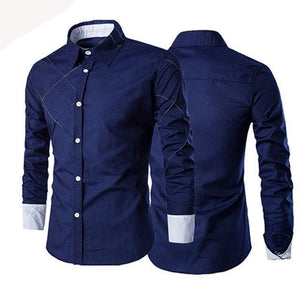 Men Casual Business Buttoned Formal Long Sleeve Grid Slim Fit Stylish Luxury Shirt Top Navy Burgun For Male-cgabuy