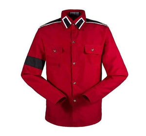 In Memory Michael Jackson MJ Red Retro Fashion CTE Anti-war Cotton Shirt Stitchwork Sark Collection Embroidery-cgabuy