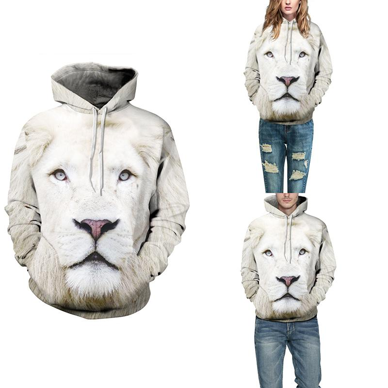 Men New white lion head 3D printing hedge hat jacket man hoodie Male coat 2017 fashion new style Camisola dos homens-cgabuy
