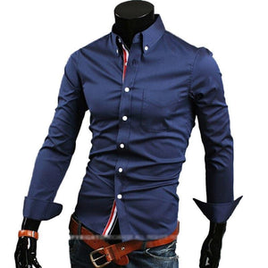 cheap shipping hot new fashion business casual slim fit long sleeved shirts men's dress shirts leisure brand 5 colors 5 sizes-cgabuy