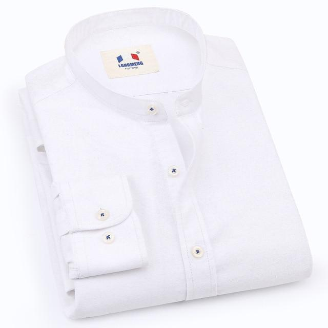 LANGMENG New 100% Cotton Oxford Dress Shirt Men Casual Shirt Brand Mens Clothing Classic Mandarin Collar Camisas Masculina-cgabuy