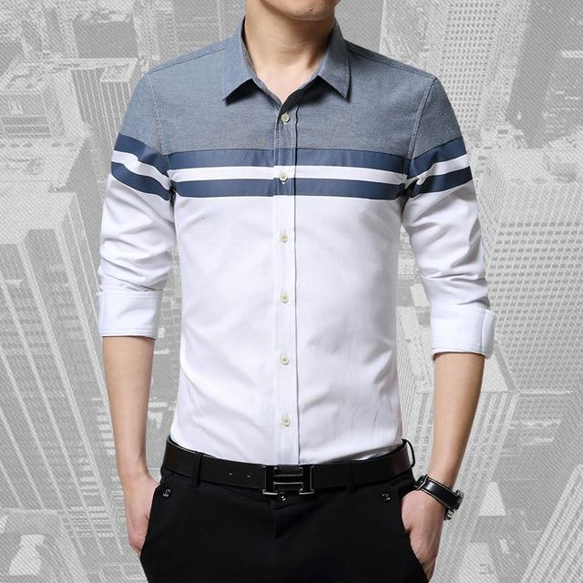 2017 Fashion Mens Shirts Brand Clothing Slim Fit Patchwork Stripe Clothes Male Long Sleeve Shirt for Men Camiseta Male-cgabuy