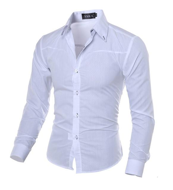 Men Shirt New Arrival Male Solid Color Mandarin Collar Business Tuxedo Long Sleeve Casual Shirt Cotton Dress Shirts M-5XL-cgabuy