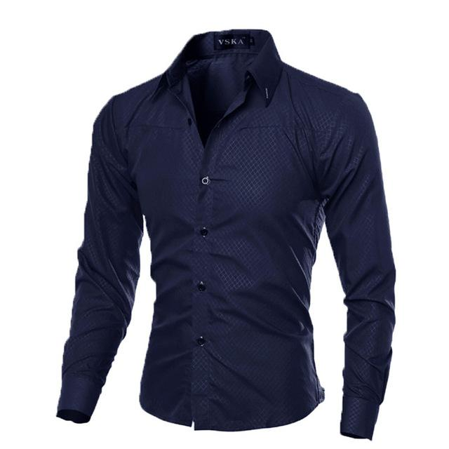Fashion Men's Luxury Casual Shirts Slim Fit Dress Shirts Long Sleeve Button Tops-cgabuy