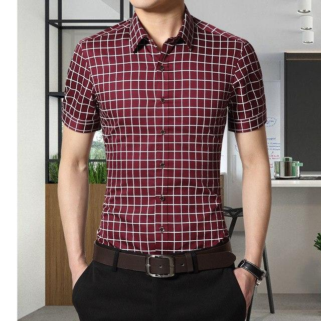 Plus Size 5XL 2017 New Summer Mens Cotton Dress Shirts Short Sleeve Plaid Pattern Business Formal Shirt Male Camisa Male-cgabuy