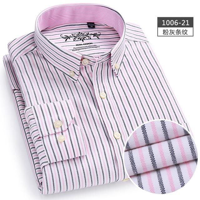 New Spring Autumn Oxford Mens shirts long sleeve Cotton casual shirt solid plaid camisa 5XL 6XL Big size camisa social masculina-cgabuy