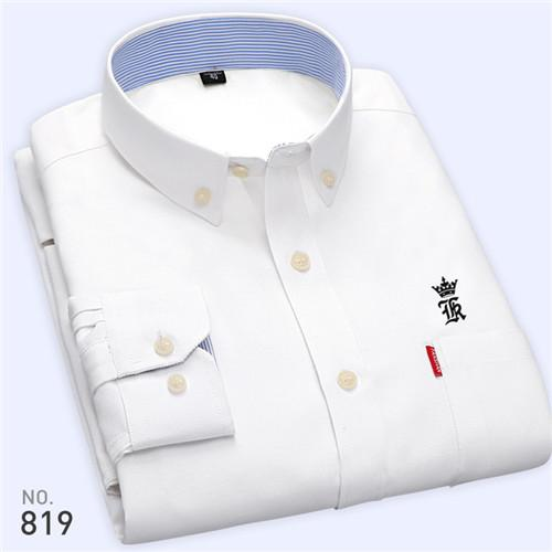High Quality Sergio K New Arrived Oxford Mens Shirts Brand Embroidery Long Sleeve Solid Color Men Dress Shirts White Male Shirt-cgabuy