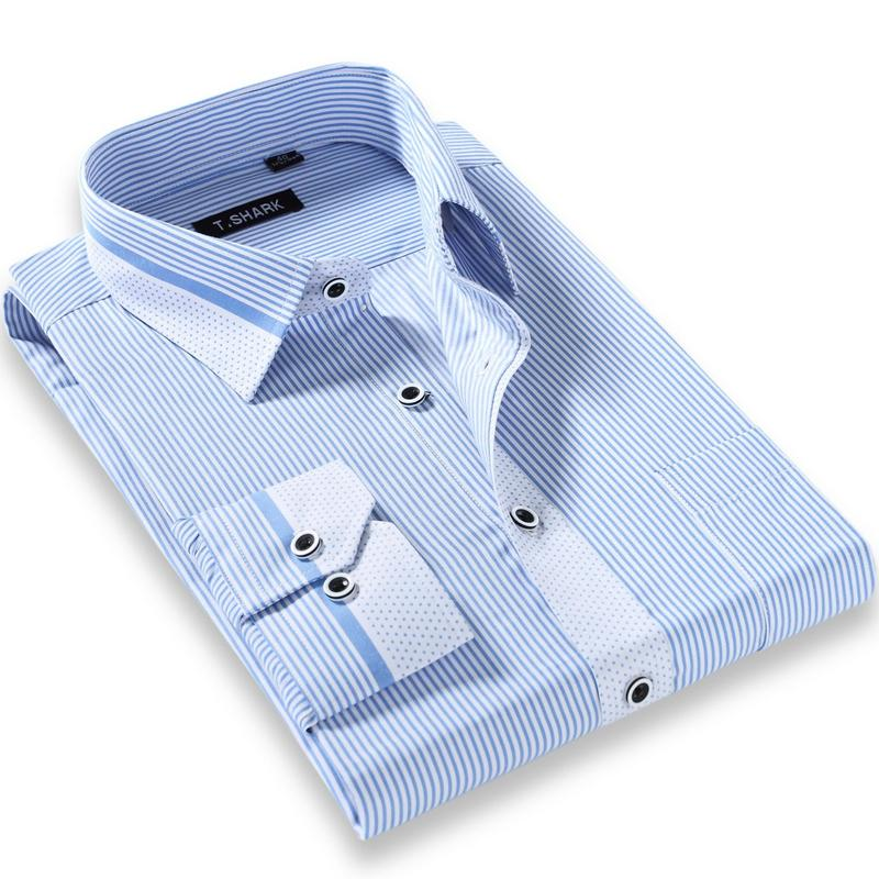 Men's Dark Purple/white Pin-Stripe Dress Shirt with Left Chest Pocket Long Sleeve Regular Fit Male Formal Business Tops Shirts-cgabuy