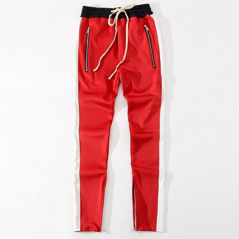 2018 New bottoms side zipper pants hip hop Fashion urban clothing justin bieber FOG Joining together jogger pants Black red blue-cgabuy
