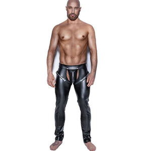 Sexy Men Skinny Faux PU Leather Pants Shiny Black Trousers Nightclub Stage Performance Singers Dancer Open Front Leather Pants-cgabuy