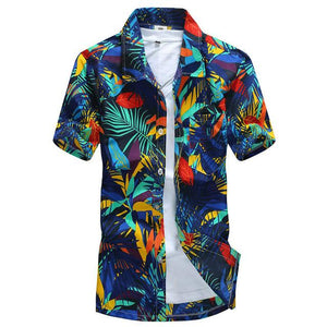 Tailor Pal Love 2018 Summer Hawaiian Shirt Men Casual Short Sleeve Mens Beach Shirts Floral Printing-cgabuy