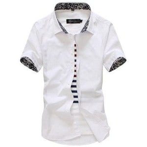 MarKyi 2017 summer short sleeve floral mens dress shirts plus size 5xl slim fit casual social shirt men good quality-cgabuy