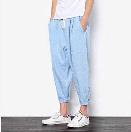 Summers Linen Pants Men Casual Ankle-Length Harem Pants solid Linen Cotton Men's Pants 9 Pants Linen Trousers-cgabuy