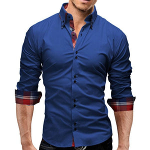 Brand 2018 Fashion Male Shirt Long-Sleeves Tops Double collar business shirt Mens Dress Shirts Slim Men Shirt 3XL-cgabuy