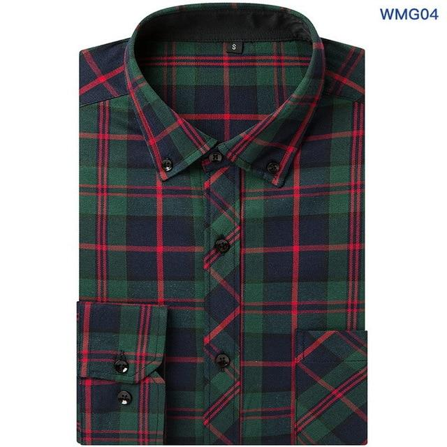 VFan Flannel Men Plaid Shirts 2018 New Autumn Luxury Slim Long Sleeve Brand Formal Business Fashion Dress Warm Shirts E1203-cgabuy